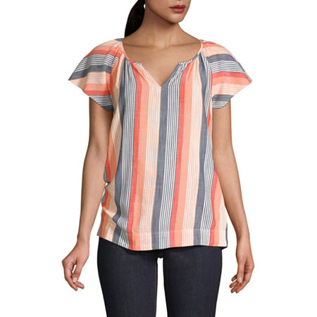 St. John's Bay Womens Split Neck Flutter Sleeve Blouse, Petite X-small , Orange