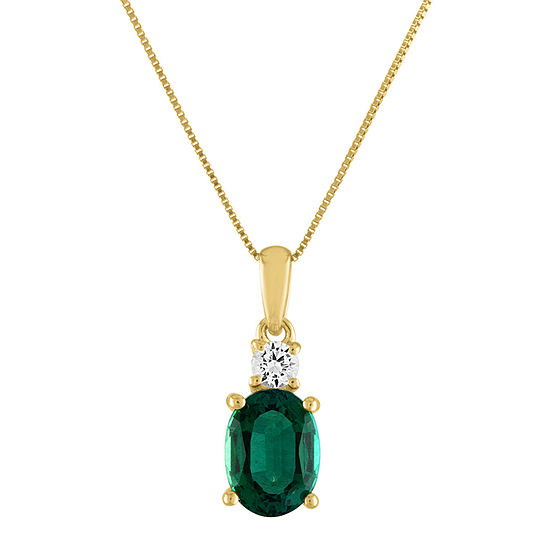 Womens Lab Created Green Emerald 10K Gold Pendant Necklace