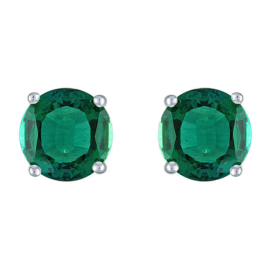 Lab Created Green Emerald Sterling Silver 7mm Stud Earrings