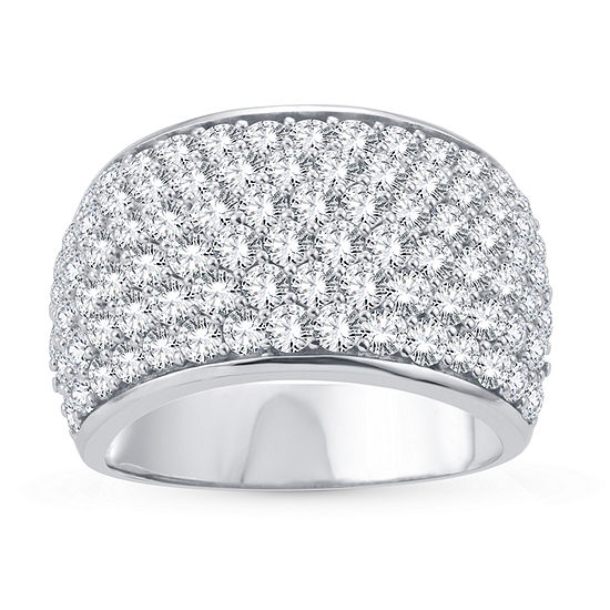 Womens 3 CT. T.W. Lab Grown White Diamond 10K White Gold Cocktail Ring