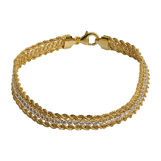 Made in Italy 14K Gold 7.5 Inch Hollow Rope Link Bracelet