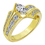Womens 1 1/2 CT. T.W. Cubic Zirconia 14K Gold Over Silver Round Engagement Ring