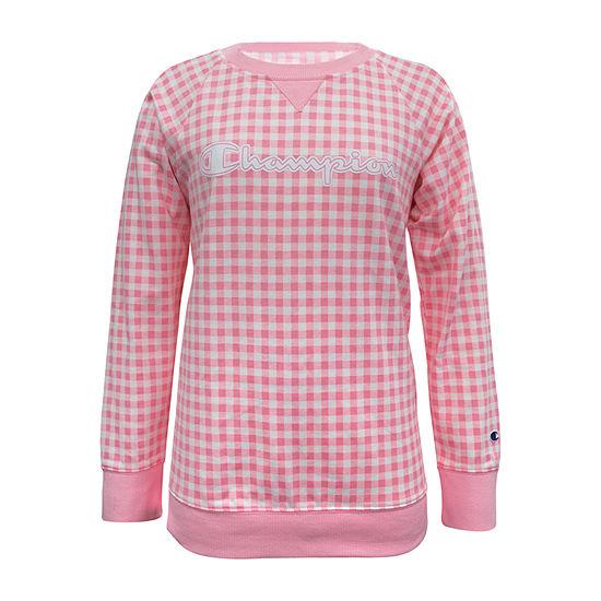 Champion - Big Girls Crew Neck Long Sleeve Sweatshirt