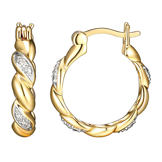 Sparkle Allure Diamond Accent Curved Hoop Earrings