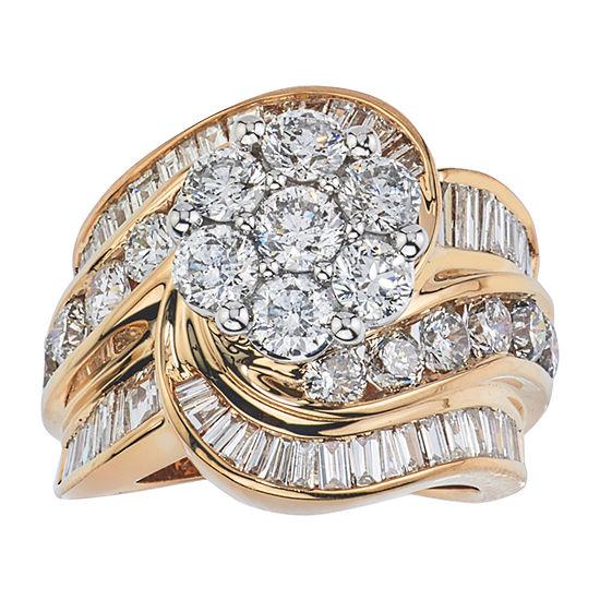 Diamond Blossom Womens 4 CT. T.W. Genuine Diamond 14K Gold Cluster Cocktail Ring