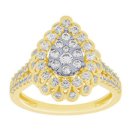 Womens 1 CT. T.W. Genuine Diamond 10K Two Tone Gold Cocktail Ring, 8