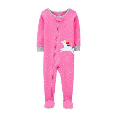Carter's Baby Girls Knit Long Sleeve One Piece Pajama