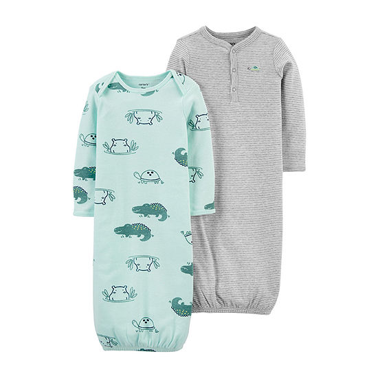 Carter's Baby Boys 2-pc. Knit Long Sleeve Crew Neck Nightgown