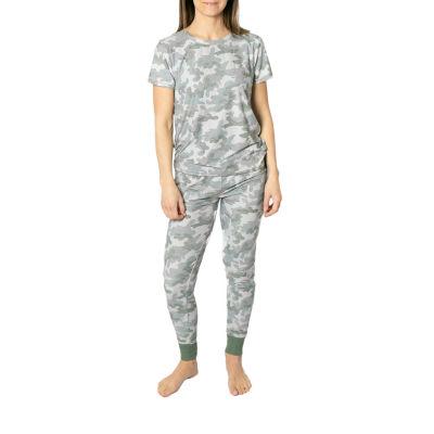 Jaclyn Camo Family Sleepwear Womens Pant Pajama Set 2-pc. Short Sleeve