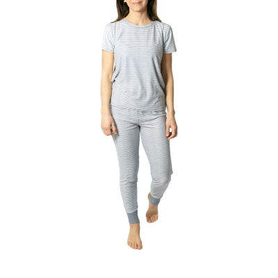 Jaclyn True Stripe Family Sleep Womens Pant Pajama Set 2-pc. Short Sleeve