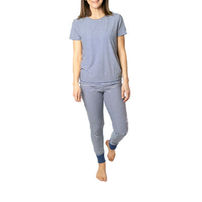 Jaclyn Magazine Stripe Family Sleep Womens Pant Pajama Set 2-pc. Short Sleeve