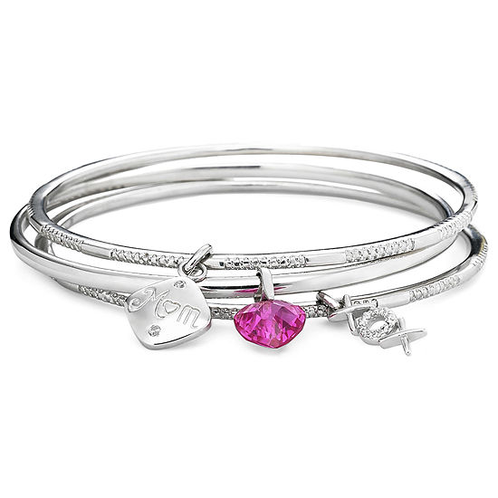 Lab Created Pink Sapphire Pure Silver Over Brass Bangle Bracelet