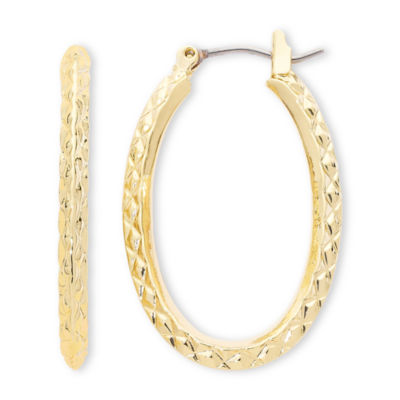 Liz Claiborne® Gold-Tone, Textured Oval Hoop Earrings