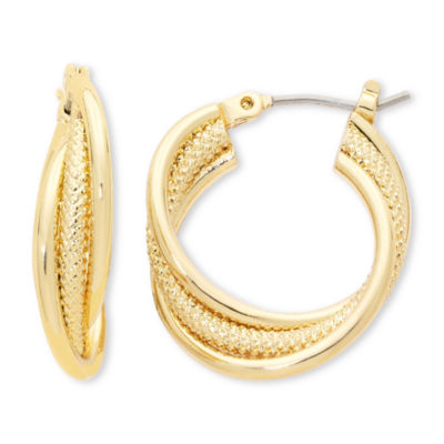 Liz Claiborne® Gold-Tone, Twisted Hoop Earrings