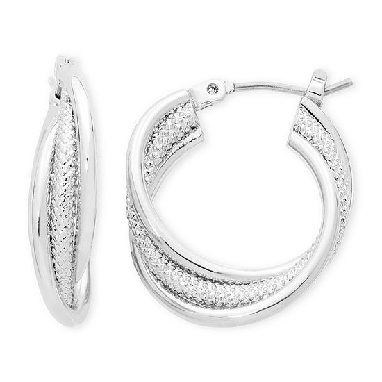 Liz Claiborne Silver Tone Twisted Hoop Earrings