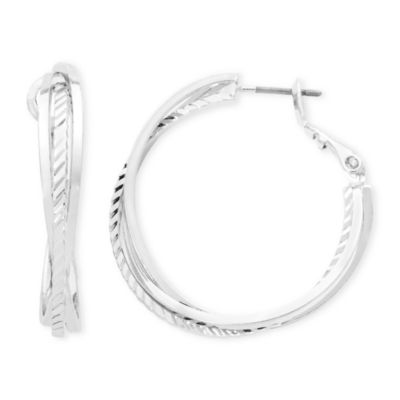 Liz Claiborne® Silver-Tone, Twisted Hoop Earrings