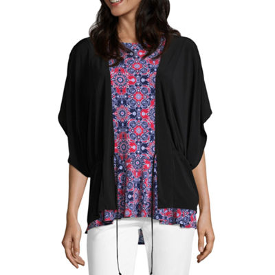 Liz Claiborne Elbow Sleeve Flutter Shrug - Tall
