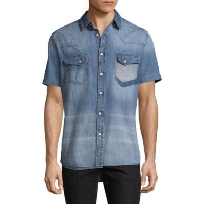 Decree Short Sleeve Denim Button-Front Shirt