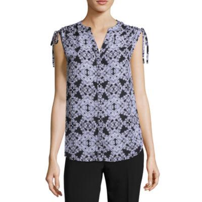 Worthington Short Sleeve V Neck Woven Blouse-Petite