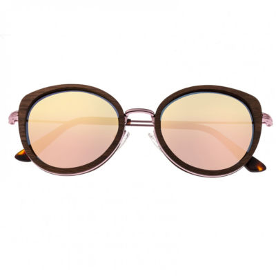 Earth Wood Full Frame Round Sunglasses-Womens