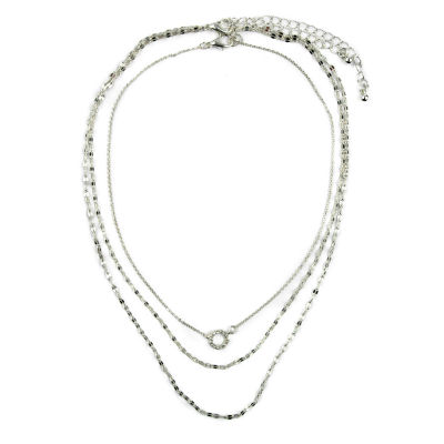 Carole Womens 2-pack Clear Round Necklace Set