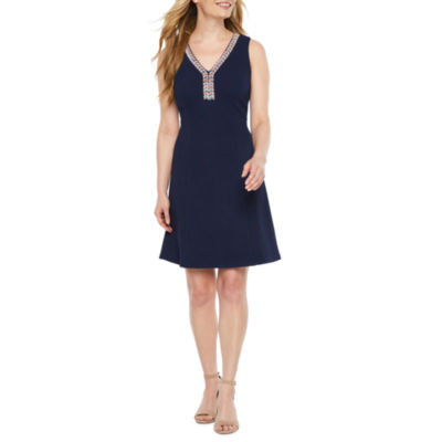 Ronni Nicole Sleeveless Beaded A-Line Dress-Petite