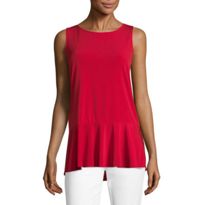Liz Claiborne Sleeveless Flounce Shell - Tall