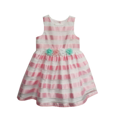 Marmellata Sleeveless Pink White Stripe Dress - Baby Girls