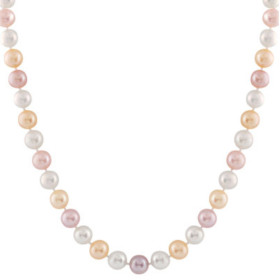 Splendid Pearls Womens 6MM Multi Color Cultured Freshwater Pearl 14K Gold Strand Necklace