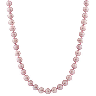 Splendid Pearls Womens 7MM Purple Cultured Freshwater Pearl 14K Gold Strand Necklace