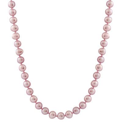 Splendid Pearls Womens Purple 14K Gold Strand Necklace