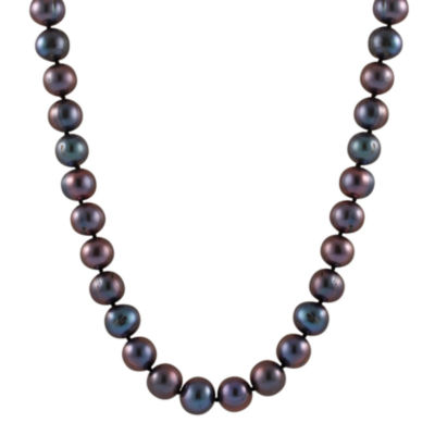 Splendid Pearls Womens 7MM Black Cultured Freshwater Pearl 14K Gold Strand Necklace