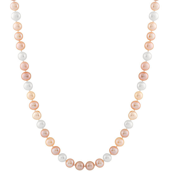Splendid Pearls Womens 7MM Multi Color Cultured Freshwater Pearl 14K Gold Strand Necklace