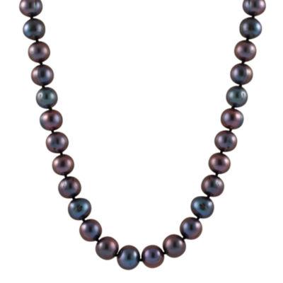 Splendid Pearls Womens Black Pearl 14K Gold Strand Necklace