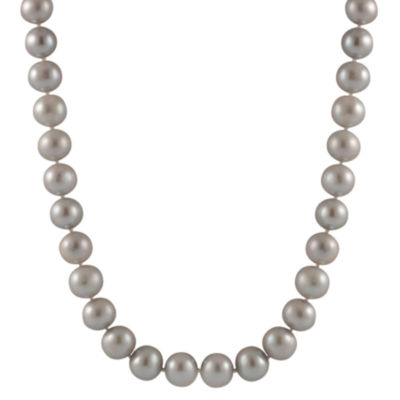 Splendid Pearls Womens 9MM Gray Cultured Freshwater Pearl 14K Gold Strand Necklace