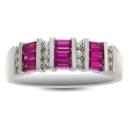Womens Lead Glass-Filled Red Ruby 10K White Gold Cocktail Ring