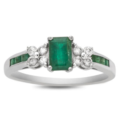 Womens Green Emerald 14K White Gold Cocktail Ring
