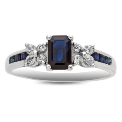 Womens Blue Sapphire 14K White Gold Cocktail Ring