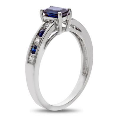Womens Blue Sapphire 10K White Gold Cocktail Ring