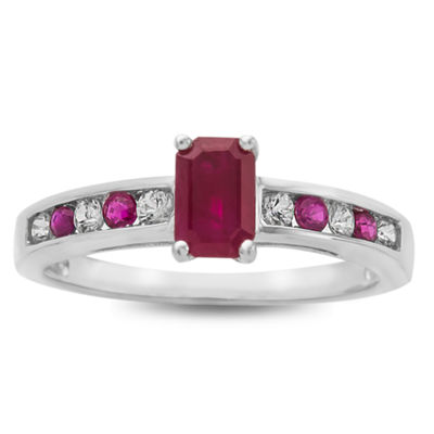 Womens Red Ruby 10K White Gold Cocktail Ring