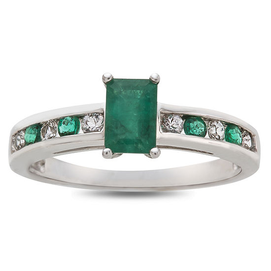 Womens Genuine Green Emerald 10K White Gold Cocktail Ring