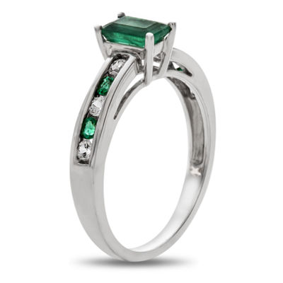 Womens Green Emerald 10K White Gold Cocktail Ring