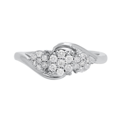 Bridal Womens 1/4 CT. T.W. White Diamond 10K White Gold Engagement Ring