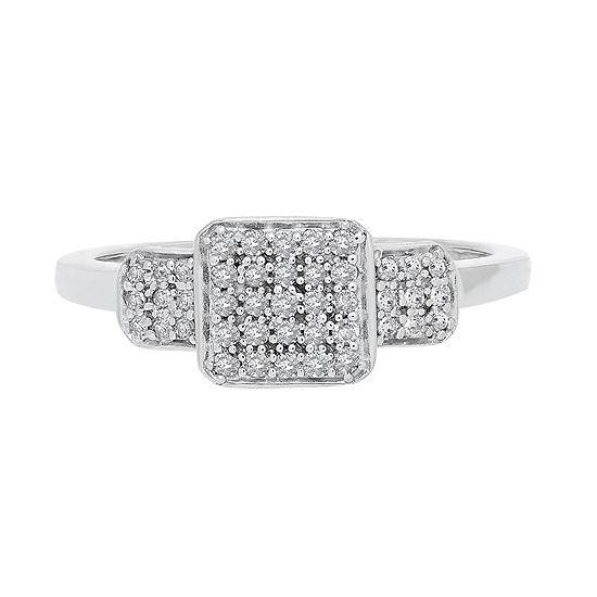 Bridal Womens 1/4 CT. T.W. Genuine White Diamond 10K White Gold Engagement Ring