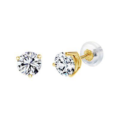 14K Gold 6.4mm Round Stud Earrings featuring Swarovski Zirconia