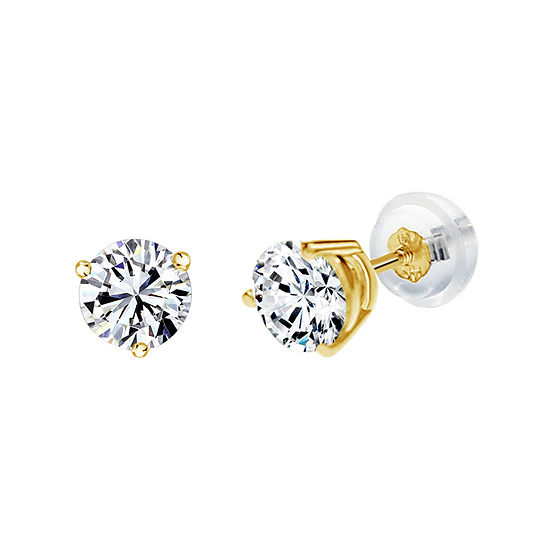 14K Gold 6.4mm Round Stud Earrings featuring Swarovski Zirconia