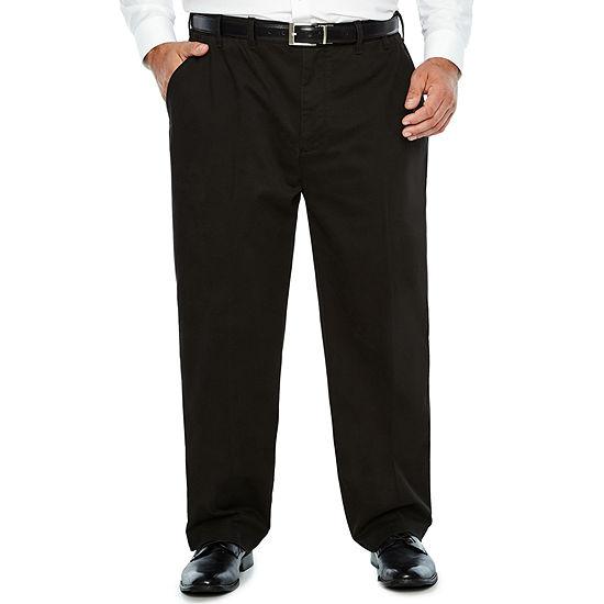 IZOD Big & Tall Sportflex Waistband Stretch Flat Front Chino Pant