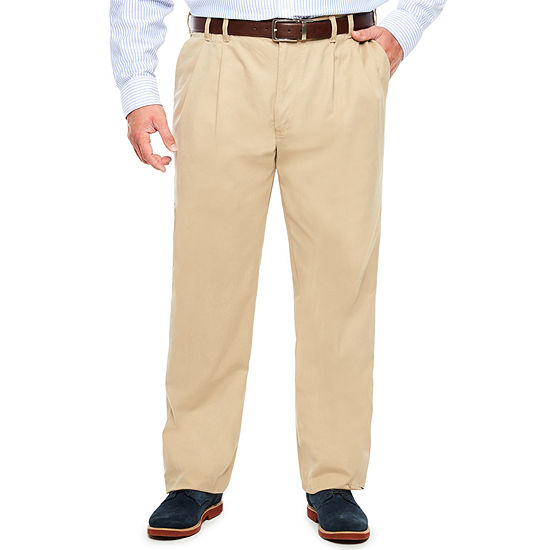IZOD Sportflex Waistband Stretch Pleated Chino Pants-Big & Tall