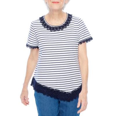 Alfred Dunner Sun City Short Sleeve Crew Neck Stripe T-Shirt-Womens Petite