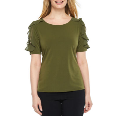 Worthington Elbow Sleeve Knit Dress Shirt-Petites